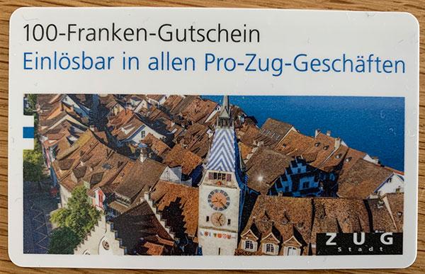 PROZUG Gutschein für Stadt-Zuger/innen