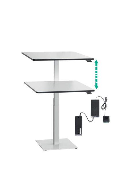 ergon mono Steh-Sitzlift Gestell weiss mit Tischplatte und Akku