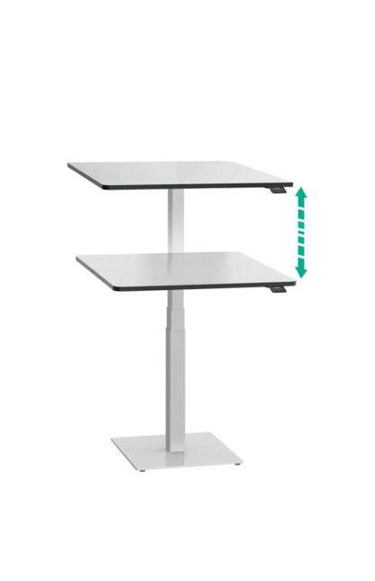 ergon mono Steh-Sitzlift Gestell weiss mit Tischplatte