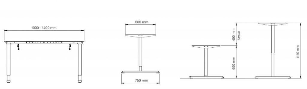 Massangaben Tischgestell Steelforce Pro 300