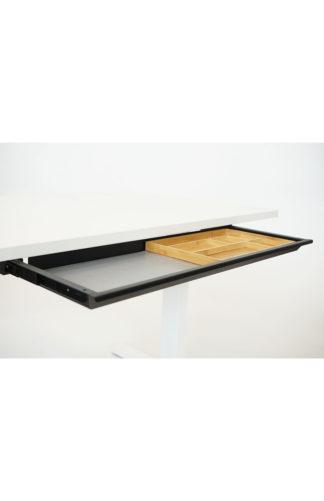 Tischschublade Materialauszug breit schwarz mit Bambus Inlay| solergo.ch