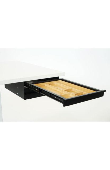 Tischschublade Materialauszug Trio schwarz mit Bambus Inlay| solergo.ch